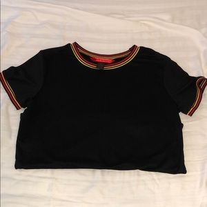 simple black shirt w/ striped details on the edges